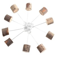 10 PCS / Set Rustic Real Wood Base Wedding Table Number Wooden Base Holders