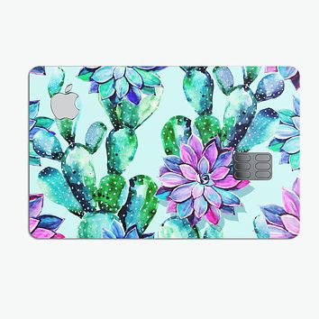 Watercolor Cactus Succulent Bloom V11 - Premium Protective Decal Skin-Kit for the Apple Credit Card