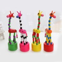 1PC Baby Kids Wooden Giraffe Toy Kids Wood Blocks Rocking Toys Dance Stand By Wire Control Child Learning Education Toys Random