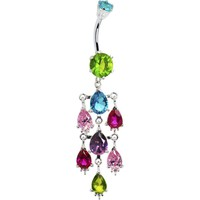 Sterling Silver 925 RAINBOW Cubic Zirconia KALEIDOSCOPE Dangle Belly Ring