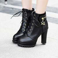 Women's fashion high-heeled boots Martin boots