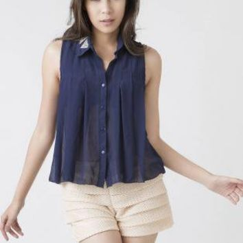 Blue Sleeveless Top - Sheer Navy Sleeveless Blouse with | UsTrendy