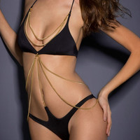 Black Chained Embellishment One-piece Swimsuit