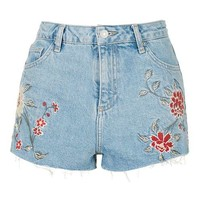 MOTO Embroidered Mom Shorts - Clothing