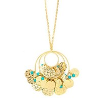 Gold Triple Circle Long Pendant Necklace with Hammered Coins and Turquoise Beads | Claire's