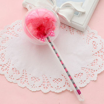 Hot Pink Novelty Gel Pen with Fuzzy Ball Top