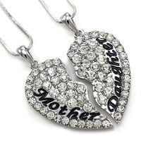 """Eloi Jewelry Mother and Daughter Necklace Best Friend Pendant Necklace Gift (Size: 1.5"""" * 1.5"""", Color: White) (With Thanksgiving&Christmas Gift Box)= 1946173892"""