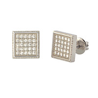 Sterling Silver Screw Back Earrings Pave Cubic Zirconia CZ Studs 8mm Square