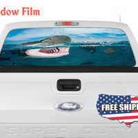 Big White Shark Hunting Fish Full Color Print Perforated Film Truck SUV Back Window Sticker Perf018