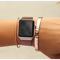 Apple Watch Stainless Steel Band | Rose Gold Silver Gold Black Pink Gold Bands
