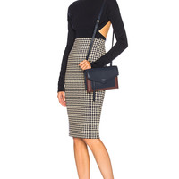 Victoria Beckham Pixel Houndstooth Pencil Skirt in Navy & Cream | FWRD