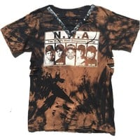 NWA Bleached Lace up Grommet Tee