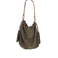 lucky brand leather purse / boho brown suede leather tote hobo shoulder bag