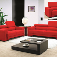 Red Fabric Sofa Set with Adjustable Headrests