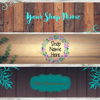 Shop Banner, Etsy Shop Header, Styled stock photo, Pre-made Banner, Etsy branding, Wood Background, Teal and brown