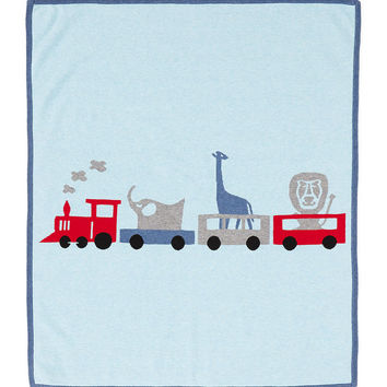 Cashmere-Blend Animal Train Blanket, Chambray Blue - Neiman Marcus Cashmere Collection