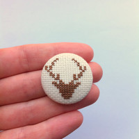 Head Stag - Modern handmade embroidered pinback button