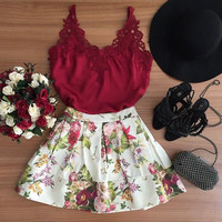 Fashion Print Sling Lace Dress Two-Piece