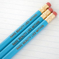 rare beauty lies within. pencil set of three blue pencils. back to school supplies