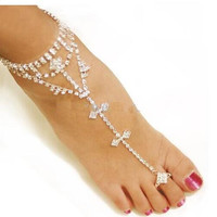 Anklet Rhinestone Barefoot Sandals
