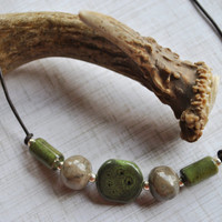 Men's Necklace of Fossil Petoskey Stones with green ceramic beads on brown leather cord , minimalist, Michigan necklace