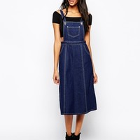 Glamorous Tall Denim Pinafore Midi Dress