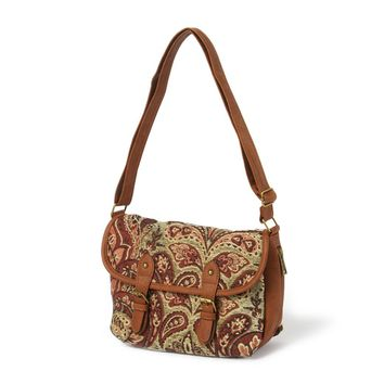 Austin Tapestry Crossbody Bag with Faux Leather Trim    Icing