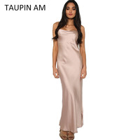 Sexy pink silk satin slip dress summer spaghetti strap backless black party evening women maxi long dresses silver