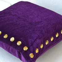 """Custom Listing for 3 Pillow Covers Sized 20""""x20"""" in velvet with gold sequin detail - (i) 2 Dark Red  (ii) 1 Purple pillow"""