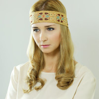 by (Oleel) Boho Chic Headband, Beautiful Gold - Beige Ornate Detail, Crochet Sequin with Ribbon