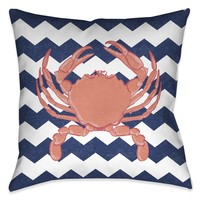 Crab Chevron Indoor Decorative Pillow