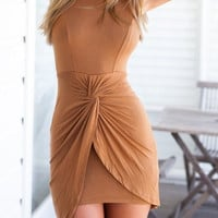 Brown Sleeveless Backless Dress