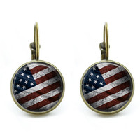 American Flag Earrings Pierced Clip Back, Red White and Blue, 25 mm Dangle Earrings, 4th of July Patriotic Jewelry American History