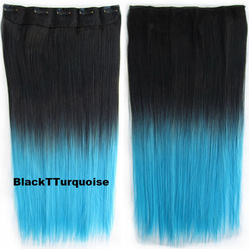 "Dip dye hairpieces New Fashion 24"" Women Clip in on gradient wig Bath & Beauty Hair Ombre Hair Extensions Two Tone Straight hair Gradient Hair Extension Colorful Hairpieces GS-666 Black T Turquoise,1PCS"
