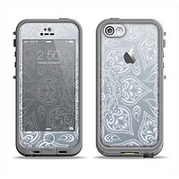 The Intricate White and Gray Vector Pattern Apple iPhone 5c LifeProof Fre Case Skin Set