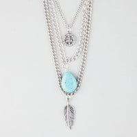 FULL TILT 3 Row Peace/Turquoise/Leaf Necklace   Necklaces