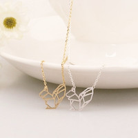 Gold and Silver Squirrel Necklace, Cute Necklace, Animal Necklace, Korean Jewelry, Brass Necklace, Womens Necklace, Mouse Necklace