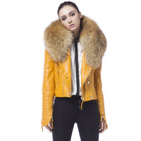 Danny Joe Yellow Leather Fur Collar Jacket