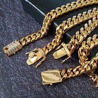 Stainless Steel Gold 8mm Miami Cuban Link Diamond Chain Necklace & Bracelet Set