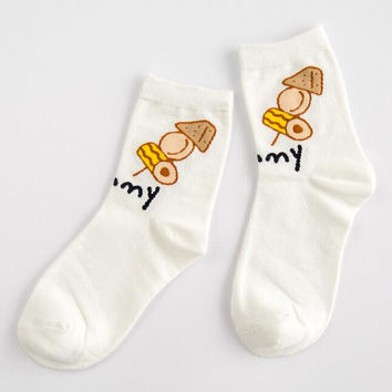 Kitchen Supplies Print Socks for Women Autumn Winter Gift-11