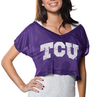 TCU Horned Frogs Women's Stacked Mesh Cropped Top T-Shirt – Purple