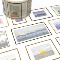 Miniature oil paintings mini drawing washi tape 5M x 3cm doll house picture small landscape oil painting mini size drawing sticker wide tape