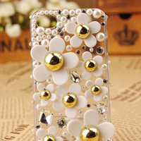 iPhone 5  4S 4G 3GS Daisy Flower Shell Skin Transparent Clear Back Case - Apple iPhone Cases - Phone Cases Rhinestones iPhone 5 4S 3GS Cases, Couple Necklaces / Wedding Rings & Uncommon Gift Ideas - Worldwide Shipping