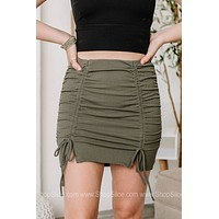 Ok Queen Cinched Ribbed Mini Skirt