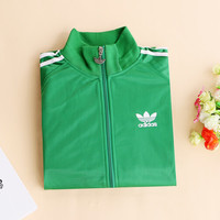 """""""Adidas"""" Unisex Classic Clover Embroidery Three Bars Long Sleeve Sports Couple Coat Zip Tops"""