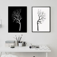 Black White Tree Canvas Painting Poster, Wall Pictures For Living Room Home Decoration, Frame not include Wall  Art FA046