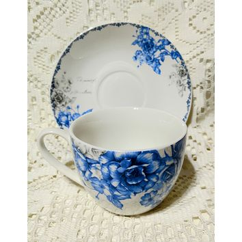 Blue and Gray England Rose Teacups and Saucers Set of 6 with 6 Tea Cups & 6 Saucers Cheap price; elegant appearance!