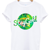 Stay gold tropical circle white t shirt