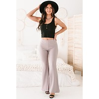 Early Night High Rise Ribbed Flare Pants (Mud)