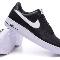 Nike Air Force 1 One Classic White / Black Low Running Sport Casual Shoes 488298 092 Sneakers